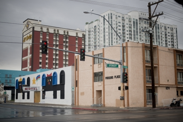 Parsons Place, a transitional housing complex, is seen at the corner of Stewart Avenue and 7th Street in downtown Las Vegas on Tuesday, Sept. 15, 2015. Residents there are concerned about how the  ...