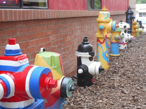 Colorful fire plugs decorate a quiet corner at Old Firehouse Square, a shopping and dining block in downtown Prescott. Jim Wright/Las Vegas Review-Journal