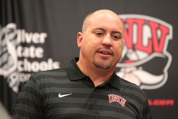UNLV football head coach Tony Sanchez speaks to media during a weekly press conference on team game performances at Lied Athletic Complex at UNLV in Las Vegas Tuesday, Sept. 15, 2015. ERIK VERDUZC ...