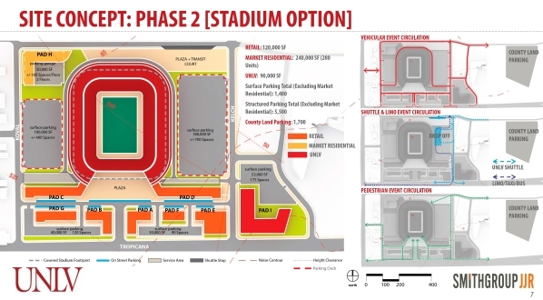 Consultant's drawing shows the proposed football stadium at the 42-acre site at Tropicana and Koval.