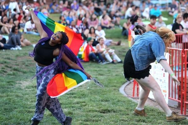 Jordyn Ross, left, 15, and Dakota Cobb, 17, dance to the music during the Pride Festival outside of the Clark County Government Center in Las Vegas Saturday, Sept. 19, 2015. ERIK VERDUZCO/LAS VEGA ...