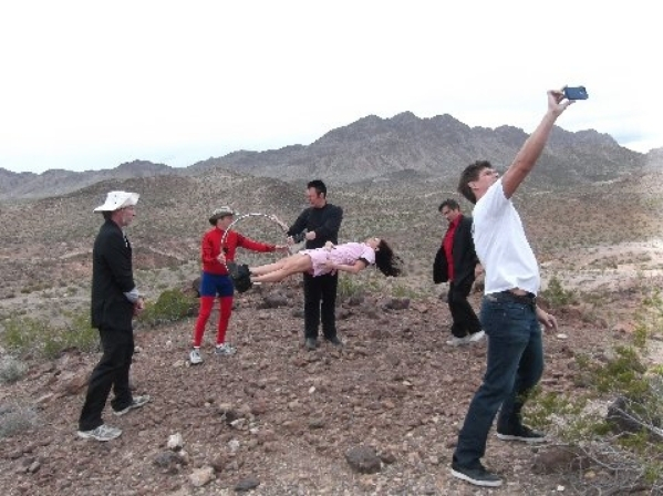 "Lance Burton, center, rehearsing with his ""Billy Topit"" crew in the desert. Burton said he wanted all the illusions in his low-budget feature to be real stage magic, not special effects."