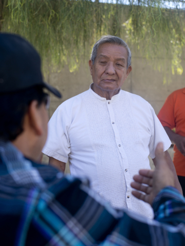 Victor Heredia, left, speaks with Amistad Christiana church pastor Joel Menchaca outside the Lloyd George Federal Courthouse after a hearing in downtown Las Vegas on Thursday, Sept. 17, 2015. The  ...