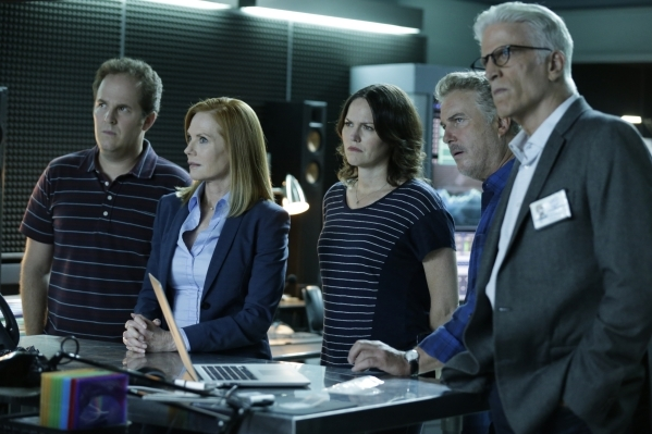 From left, David Berman, Marg Helgenberger, Jorja Fox, William Petersen and Ted Danson  appear in a scene from the two-part series finale. (Sonja Flemming/CBS)