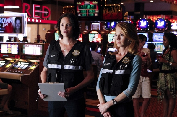 Sara (Jorja Fox, left) and Catherine (Marg Helgenberger) investigate a death during a scene filmed at the Golden Nugget during season 11. (Sonja Flemming/CBS)