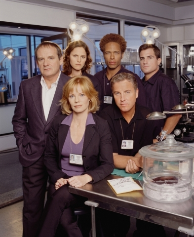 "The ""CSI"" cast is shown in 2000 at the beginning of its first season. Front: Marg Helgenberger and William Petersen. Back, from left: Paul Guilfoyle, Jorja Fox, Gary Dourdan and George E ..."