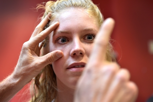 Athletic training student Serena Bruhn receives a visual acuity test during a demonstration with Tedd Girouard, UNLV's director of athletic training, at UNLV on Monday, Sept. 21, 2015. The t ...