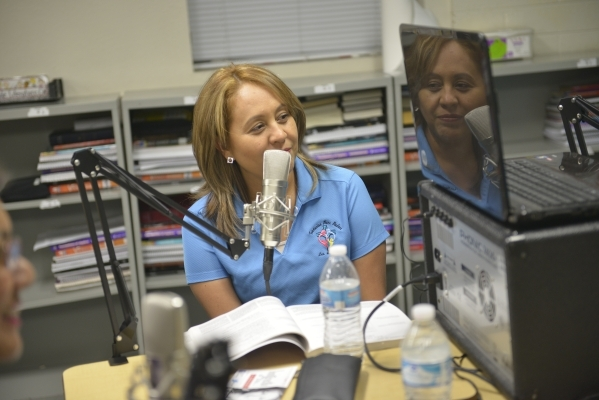 Yolanda Valdez records her radio show at St. Anne's Catholic Church in Las Vegas on Friday, Sept. 18, 2015. Valdez and her family plan to visit Philadelphia and Washington, D.C., to attend t ...