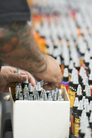 """A variety on ink colors are seen at the Eternal Ink booth at the """"Biggest Tattoo Show on Earth"""" at the Las Vegas Convention Center Las Vegas Sunday, Sept. 20, 2015. Jason Ogulnik/Las Veg ..."""
