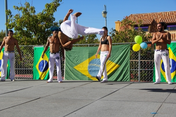 Performers dance to the music at Via Brasil Steakhouse, 1225 S. Fort Apache Road, during its Brazilian Outdoor Festival Sept. 20. The event featured live music and traditional Brazilian food and d ...