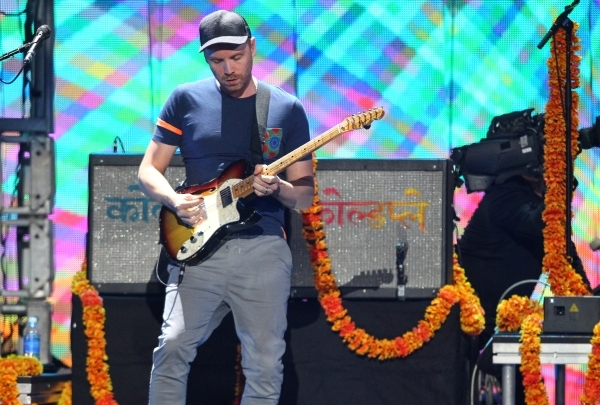 Jonny Buckland of Coldplay performs during the iHeartradio Music Festival at the MGM Grand Garden Arena in Las Vegas on Friday, Sept. 18, 2015. Chase Stevens/Las Vegas Review-Journal Follow @csste ...