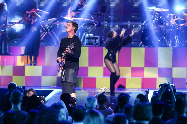 Demi Lovato, right performs with Stephan Jenkins of Third Eye Blind during the iHeartRadio Music Festival at the MGM Grand Garden Arena in Las Vegas on Friday, Sept. 18, 2015. Chase Stevens/Las Ve ...