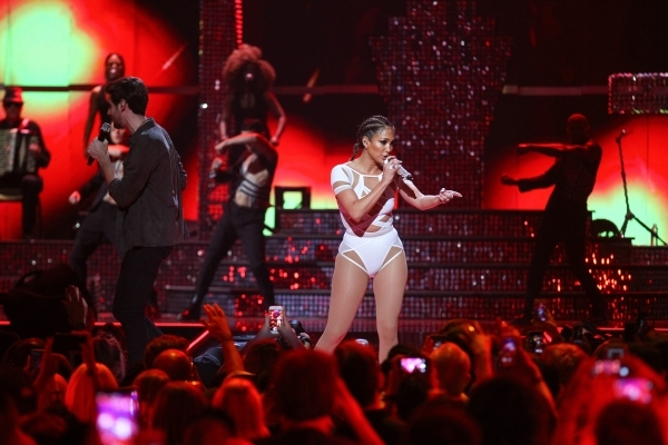 Jennifer Lopez performs during the iHeartRadio Music Festival at the MGM Grand Garden Arena in Las Vegas on Saturday, Sept. 19, 2015. Chase Stevens/Las Vegas Review-Journal Follow @csstevensphoto