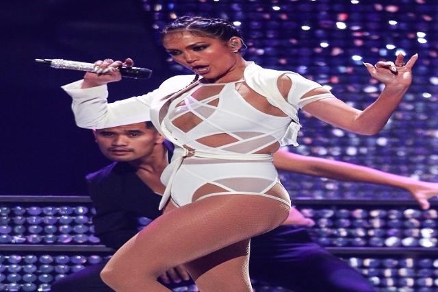 Jennifer Lopez performs during the iHeartRadio Music Festival at the MGM Grand Garden Arena in Las Vegas on Saturday, Sept. 19, 2015. (Chase Stevens/Las Vegas Review-Journal) Follow @csstevensphoto