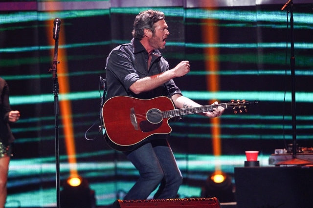 Blake Shelton performs during the iHeartRadio Music Festival at the MGM Grand Garden Arena in Las Vegas on Saturday, Sept. 19, 2015. (Chase Stevens/Las Vegas Review-Journal) Follow @csstevensphoto