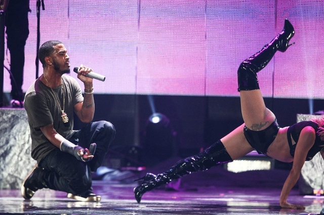 Trey Songz performs during the iHeartRadio Music Festival at the MGM Grand Garden Arena in Las Vegas on Saturday, Sept. 19, 2015. (Chase Stevens/Las Vegas Review-Journal) Follow @csstevensphoto