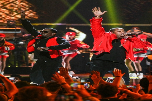 Puff Daddy, left, performs with Busta Rhymes during the iHeartRadio Music Festival at the MGM Grand Garden Arena in Las Vegas on Saturday, Sept. 19, 2015. Chase Stevens/Las Vegas Review-Journal Fo ...