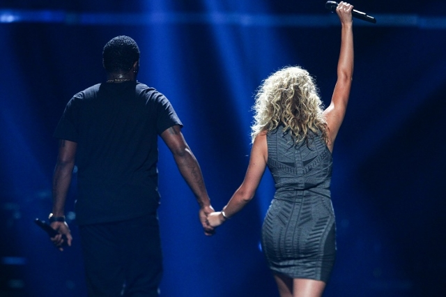 Puff Daddy, left, performs with Tori Kelly during the iHeartRadio Music Festival at the MGM Grand Garden Arena in Las Vegas on Saturday, Sept. 19, 2015. Chase Stevens/Las Vegas Review-Journal Foll ...