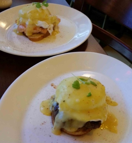 Signature eggs Benedicts, including the salmon Benedict, top, and filet Benedict, are part of the weekend brunch at Via Brasil Steakhouse, 1225 S. Fort Apache Road. A classic Benedict is also avai ...