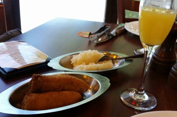 Weekend brunch at Via Brasil Steakhouse, 1225 S. Fort Apache Road, includes sides of fried plantains and mashed potatoes brought to your table. (Lisa Valentine/View)