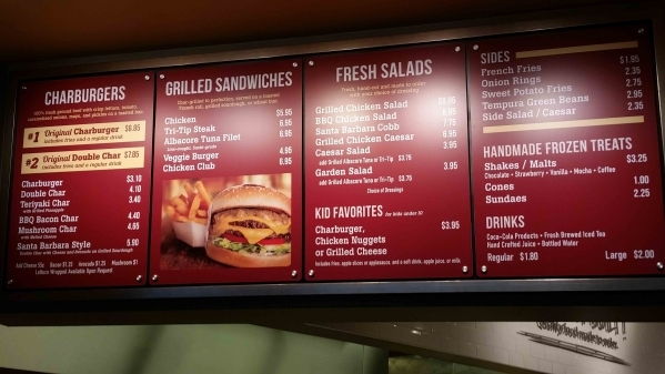 The menu is shown at The Habit Burger Grill on Hughes Center Drive. Patrons order at the counter and food is delivered to their table after it is prepared fresh to order. (Lisa Valentine/View)