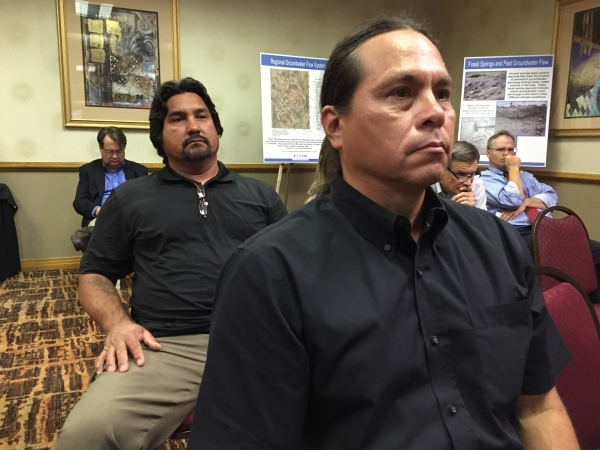 Joe Kennedy, left, of the Timbisha Shoshone tribe, and Western Shoshone Ian Zabarte listen to a speaker on Tuesday, Sept. 15, 2015, during a Nuclear Regulatory Commission panel meeting in Las Vega ...