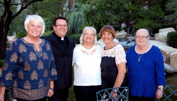 Connie Micatrotto, from left, Rev. John Assalone, Margaret Turk, Nan Czyzewicz and Mary Kay Powers