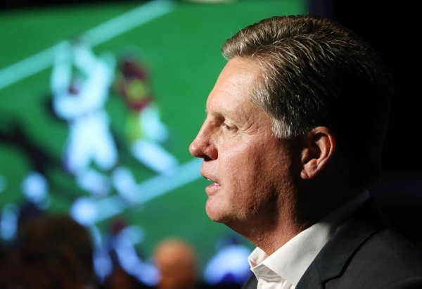 Rob Dondero, of the Las Vegas Bowl Committee, speaks with news media during a Royal Purple Las Vegas Bowl ticket kickoff luncheon at the Hard Rock hotel-casino Wednesday, Sept. 23, 2015, in Las Ve ...