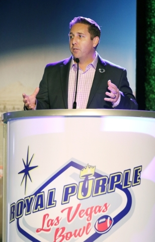 John Saccenti, executive director of Royal Purple Las Vegas Bowl, speaks during a Royal Purple Las Vegas Bowl ticket kickoff luncheon at the Hard Rock hotel-casino Wednesday, Sept. 23, 2015, in La ...