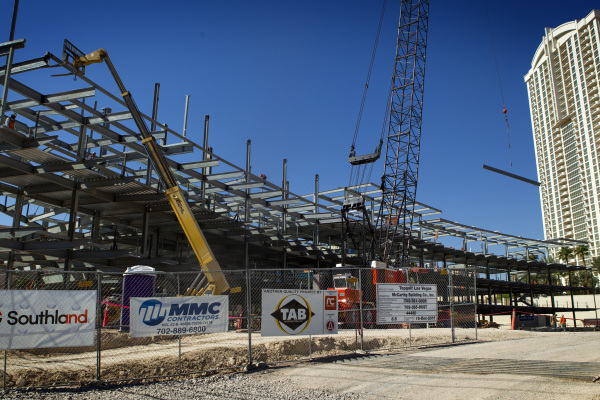 Construction at Topgolf Las Vegas at Koval Lane and Harmon Avenue just east of the Strip is seen on Wednesday, Sept. 23, 2015. The eight acre $50 million, four-level, 105,000-square-foot facility  ...