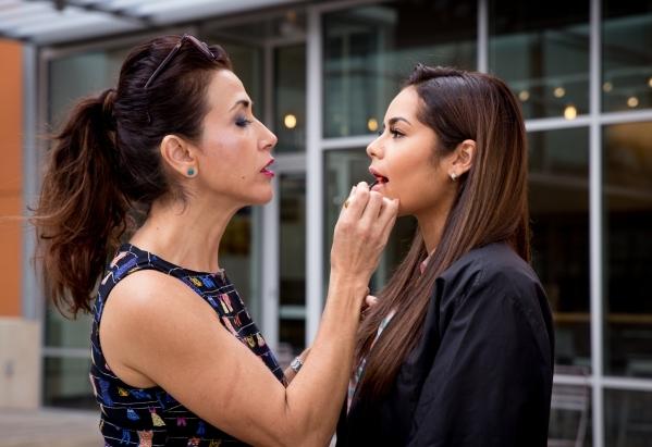 Make-up stylist Suzanna DeKeyser and model Janira Kremits at Downtown Summerlin. Photo Credit Tonya Harvey.