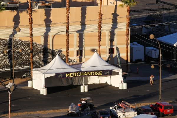 Setup goes on at the Life is Beautiful festival, slated to take place Sept. 25-27, from The Ogden in downtown Las Vegas on Wednesday, Sept. 23, 2015. Chase Stevens/Las Vegas Review-Journal Follow  ...