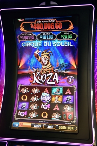 A Cirque du Soleil-themed slot machine is seen at the Scientific Games company headquarters on Friday, Sept. 25, 2015, in Las Vegas. The new game is set to be announced at G2E. (David Becker/Las V ...