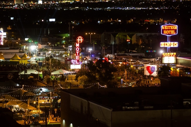 Attendees walk the festival grounds, as shown from The Ogden, during the Life is Beautiful festival in downtown Las Vegas on Friday, Sept. 25, 2015. (Chase Stevens/Las Vegas Review-Journal) Follow ...