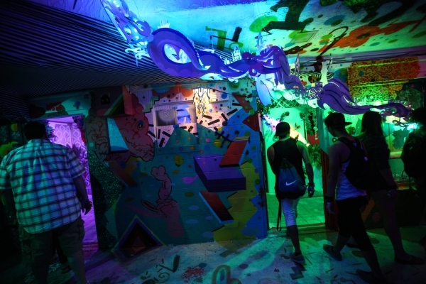 Attendees explore the Art Motel during the Life is Beautiful festival in downtown Las Vegas on Saturday, Sept. 26, 2015. Chase Stevens/Las Vegas Review-Journal Follow @csstevensphoto