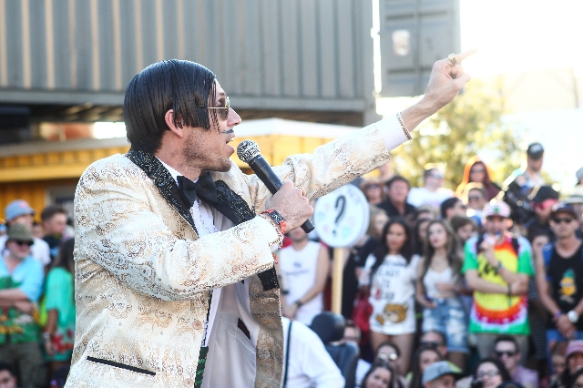 Gazillionaire introduces Absinthe during the Life is Beautiful festival in downtown Las Vegas on Saturday, Sept. 26, 2015. Chase Stevens/Las Vegas Review-Journal Follow @csstevensphoto