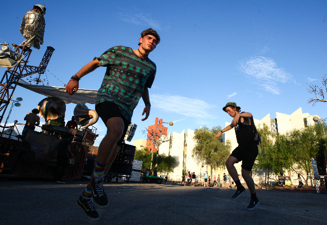 Attendees dance during the Life is Beautiful festival in downtown Las Vegas on Saturday, Sept. 26, 2015. Chase Stevens/Las Vegas Review-Journal Follow @csstevensphoto