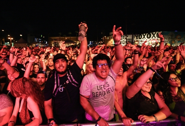 Fans react as Ab-Soul performs during the Life is Beautiful festival in downtown Las Vegas on Saturday, Sept. 26, 2015. Chase Stevens/Las Vegas Review-Journal Follow @csstevensphoto