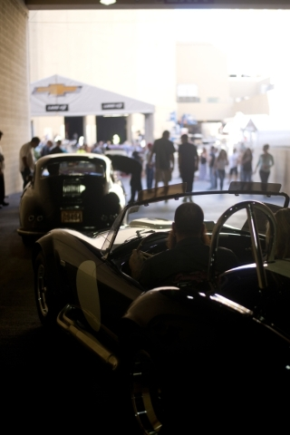 A 427 Shelby Cobra pulls out of the staging area during the Barrett-Jackson car auction inside the Mandalay Bay Convention Center on Saturday, Sept. 26, 2015. Daniel Clark/Las Vegas Review-Journal