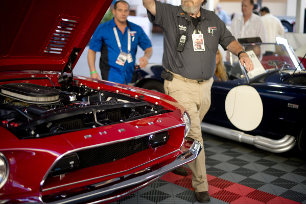 Cars are prepped for auction during the Barrett-Jackson car auction inside the Mandalay Bay Convention Center on Saturday, Sept. 26, 2015. Daniel Clark/Las Vegas Review-Journal