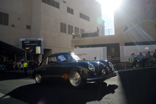 A 1953 Porsche 356 rolls to the auction block during the Barrett-Jackson car auction inside the Mandalay Bay Convention Center on Saturday, Sept. 26, 2015. Daniel Clark/Las Vegas Review-Journal