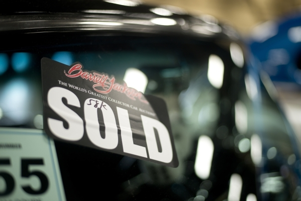 A sold sticker is seen on the winshield of a car during the Barrett-Jackson car auction inside the Mandalay Bay Convention Center on Saturday, Sept. 26, 2015. Daniel Clark/Las Vegas Review-Journal