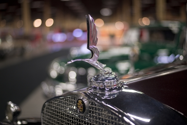The hood ornament of a Cadillac 355 A V8 Convertible is seen during the Barrett-Jackson car auction inside the Mandalay Bay Convention Center on Saturday, Sept. 26, 2015. Daniel Clark/Las Vegas Re ...