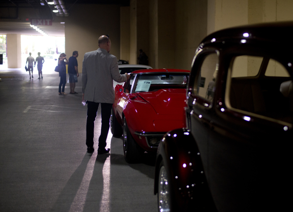 Mike Mulcahy admires cars lined up for auction during the Barrett-Jackson car auction inside the Mandalay Bay Convention Center on Saturday, Sept. 26, 2015. Daniel Clark/Las Vegas Review-Journal