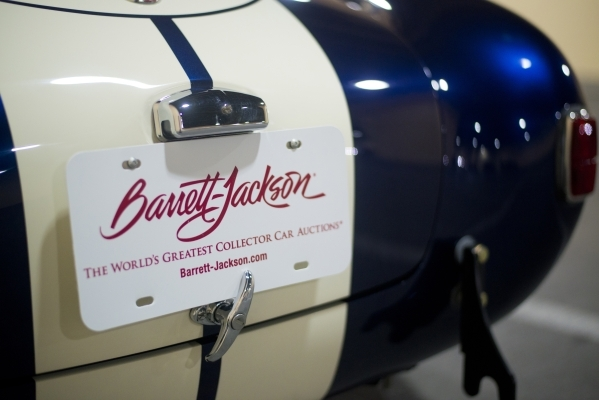 A temporary plate is seen on a 427 Shelby Cobra during the Barrett-Jackson car auction inside the Mandalay Bay Convention Center on Saturday, Sept. 26, 2015. Daniel Clark/Las Vegas Review-Journal