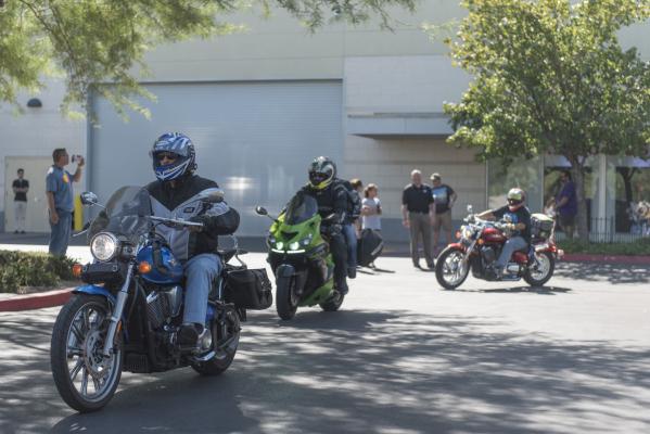 Ride participants arrive at Town Square Las Vegas during the Ride for Kids benefit in Las Vegas Sunday, Sept. 27, 2015. Jason Ogulnik/Las Vegas Review-Journal
