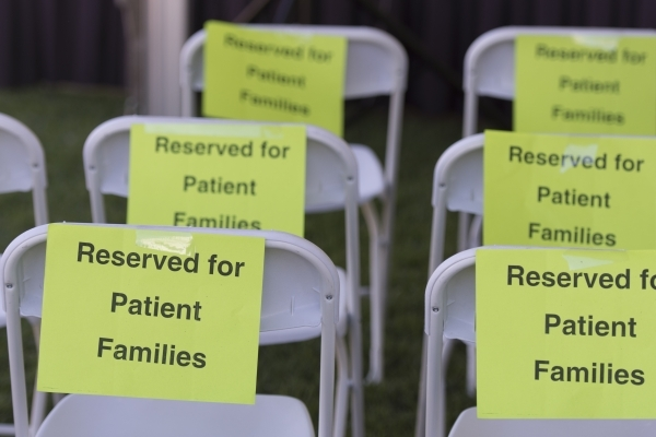 Seats reserved for patient families are shown during the Ride for Kids benefit at Town Square Las Vegas in Las Vegas Sunday, Sept. 27, 2015. Jason Ogulnik/Las Vegas Review-Journal