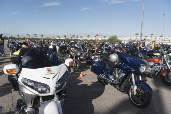 Ride participants' motorcycles are shown during the Ride for Kids benefit at Las Vegas Motor Speedway in Las Vegas Sunday, Sept. 27, 2015. Jason Ogulnik/Las Vegas Review-Journal