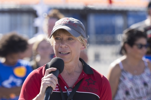 National campaign manager Kelly Corwin speaks to ride participants at the Ride for Kids benefit at Las Vegas Motor Speedway in Las Vegas Sunday, Sept. 27, 2015. Jason Ogulnik/Las Vegas Review-Journal