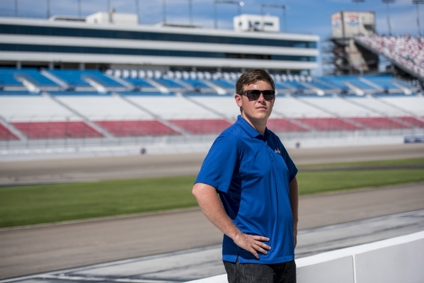 NASCAR Camping World Truck Series drive Spencer Gallagher poses for a photo in pit lane at the Las Vegas Motor Speedway in Las Vegas on Tuesday, Sept. 29, 2015. Joshua Dahl/Las Vegas Review-Journal